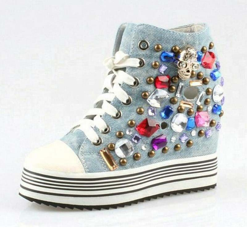 new women summer cut-outs punk rivets casual shoes fashion luxury rhinestone high top lace up thick bottom denim canvas shoes