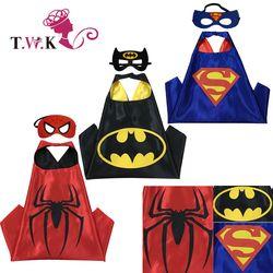 Superhero cape(1 Cape +1 mask) Superman batman spiderman superhero costume kids Halloween party costumes for Christmas