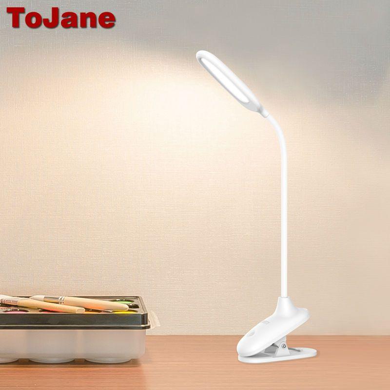 TG108-CJ ToJane Lámpara de Escritorio Regulable LED Luz de Lectura Clip de La Abrazadera de cuello de Cisne Tubo de Control Táctil USB Recargable 1500 mah de La Batería