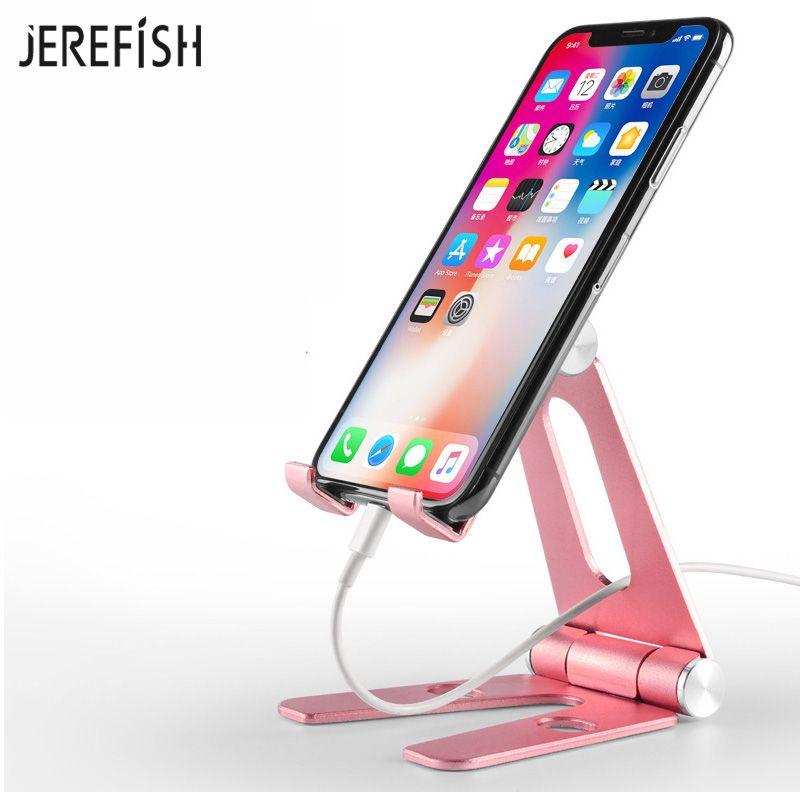 JEREFISH Universal 270 Degree Multi-Angle Rotatable Aluminum Alloy Stand Phone Holder Desk Cradle Adjustable Desk Tablet Stand