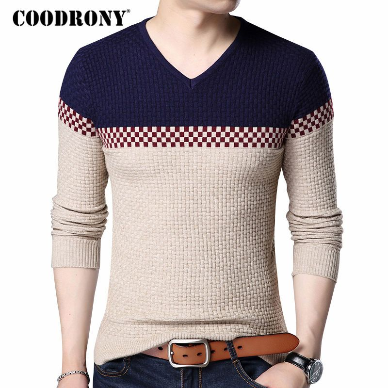 COODRONY 2018 Autumn Winter Warm Wool Sweaters Casual Hit Color  Patchwork V-neck Pullover Men Brand Slim Fit Cotton Sweater 155