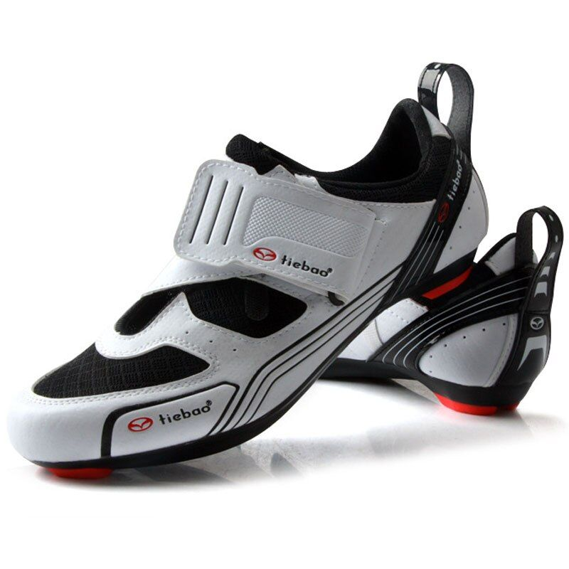 TIEBAO Outdoor Road Cycling Shoes Spinning Class Bike Shoes Triple Straps Compatible With SPD,SPD-SL LOOK-KEO Cleat