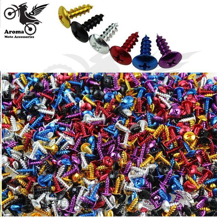 30 unids 6 colores disponibles moto rbike moto Cruz decoración 2 cm punta tornillo azul oro rojo negro oro púrpura moto tornillo moto rcycle