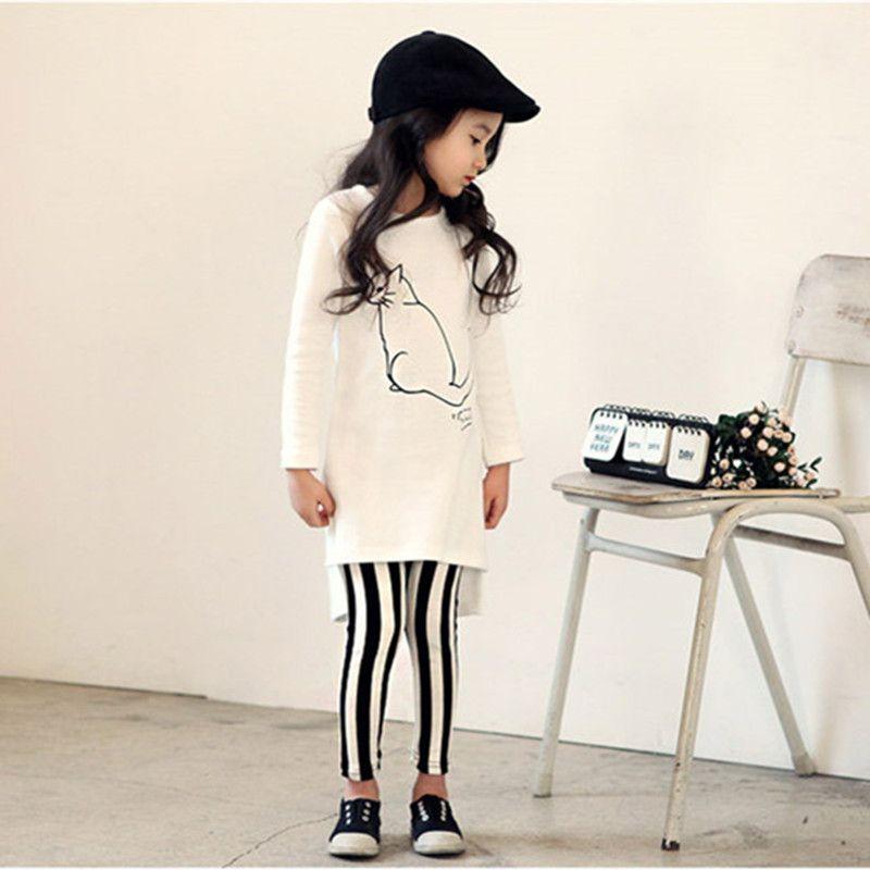 Filles Vêtements Set Kid Printemps Vêtements Ensembles Chat Blanc Chemise Rayé Long Pantalon Enfants Vêtements Costume Fille Ensemble Enfants Vêtements