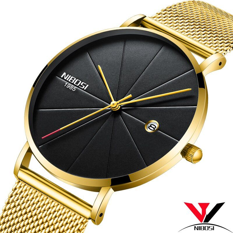 Relogios NIBOSI Masculino Thin Watches For Men Luxury Brand Mesh Strap Waterproof Golden Unisex Watches for Women/Men