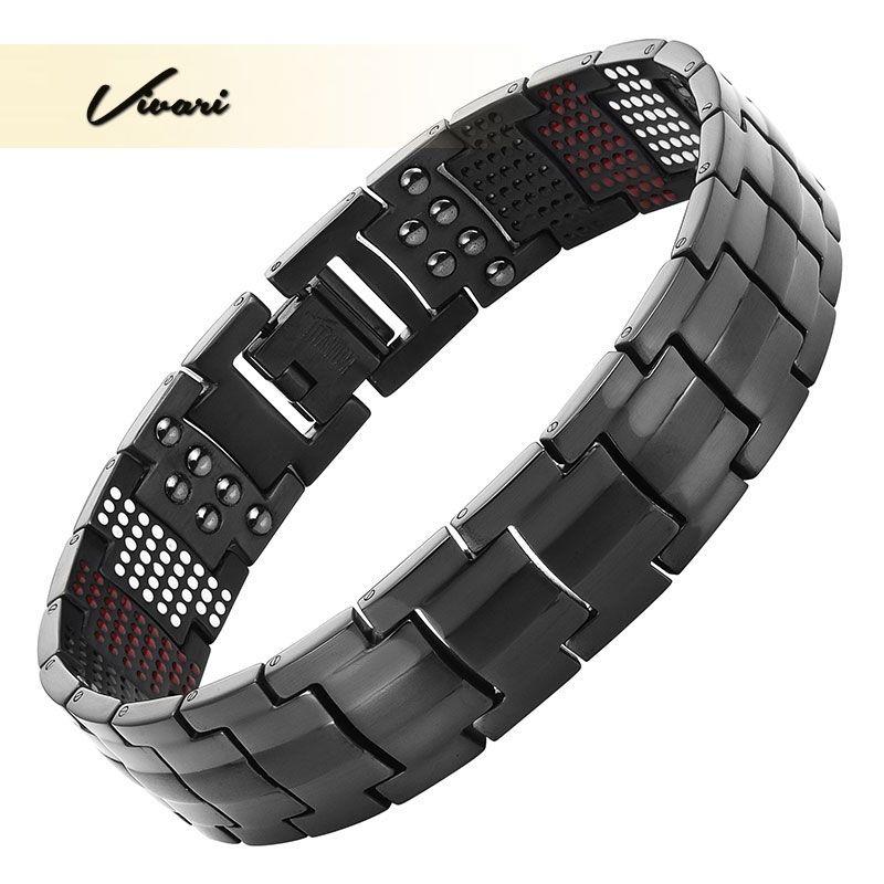 Vivari Magnétique Noir Bracelet En Titane Hommes Bracelet 4in1-avez Ions Germanium Far Infra Rouge De Mode Bracelets bijoux Charme Poignet