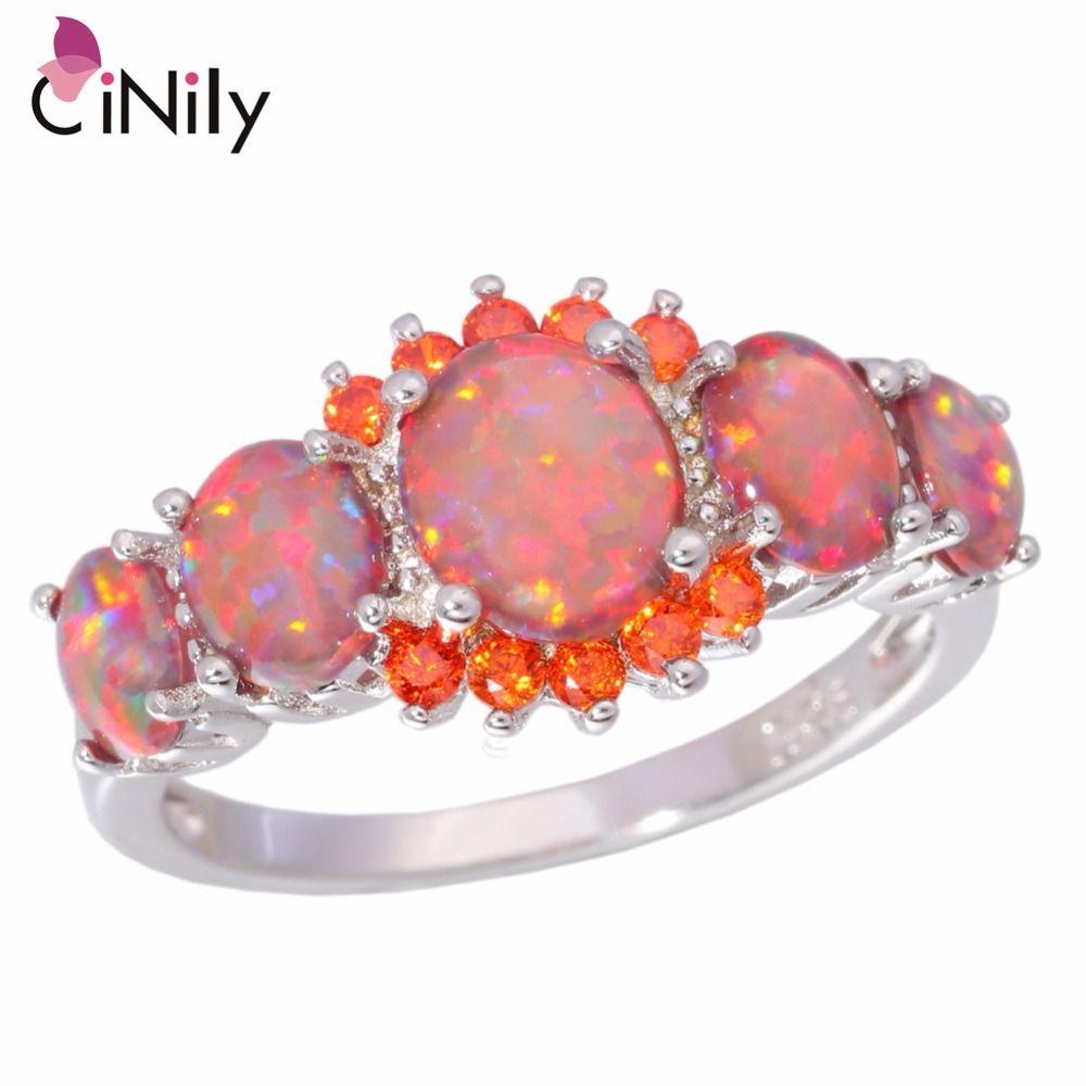 CiNily 5 couleurs Luxe opale de feu anneau argent plaqué ovale rond pierre anneau bleu plein cristal Vintage bijoux cadeau pour les femmes