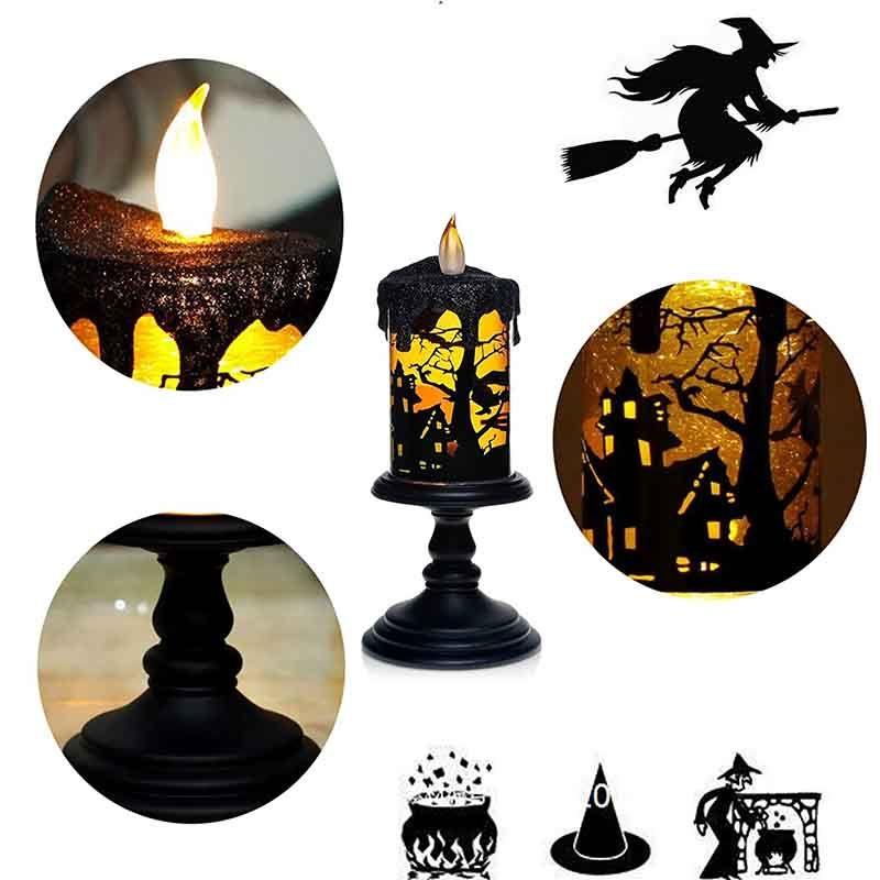GiveU Halloween Lampe, Mit Glitter Tornados spin technologie led beleuchtung, Batterie Betrieben, Flammenlose kerze in Hexe