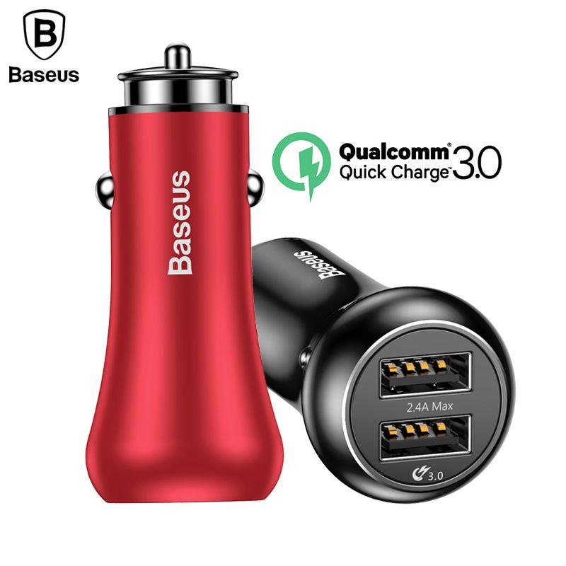 Baseus Charge Rapide QC3.0 Chargeur De Voiture Pour iPhone Samsung Xiaomi Téléphone Double USB Chargeur Rapide De Charge Chargeur 5 V 3A voiture-Chargeur