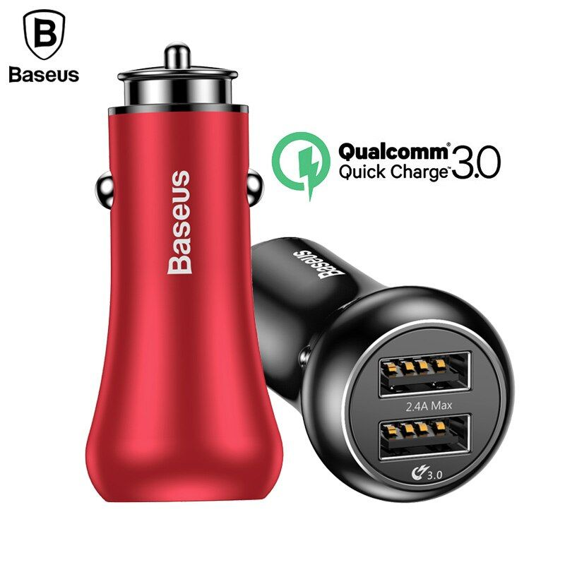 Baseus Quick Charge QC3.0 Car Charger For iPhone Samsung Xiaomi Phone Dual USB Charger Fast Charging Charger 5V 3A Car-Charger