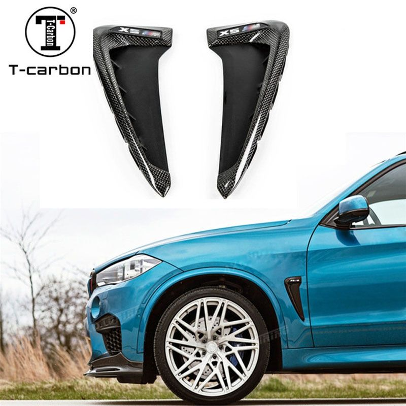 For BMW X5 F15 X5M F85 Carbon Fender Cover Trim Cover Carbon Fiber Fender Light Trim 1 : 1 Replacement Style 2015 2016 2017 - UP