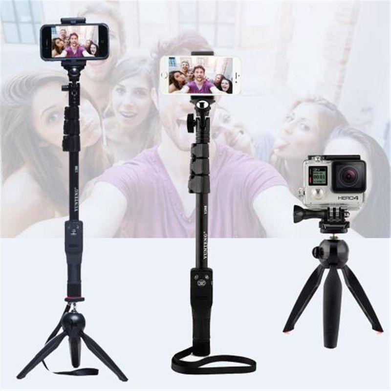 Yunteng 1288 селфи палка ручной монопод + держатель телефона + Bluetooth затвора для Камера iPhone 4/4S/6 /6S/7 Gopro Hero 5/4/3 +