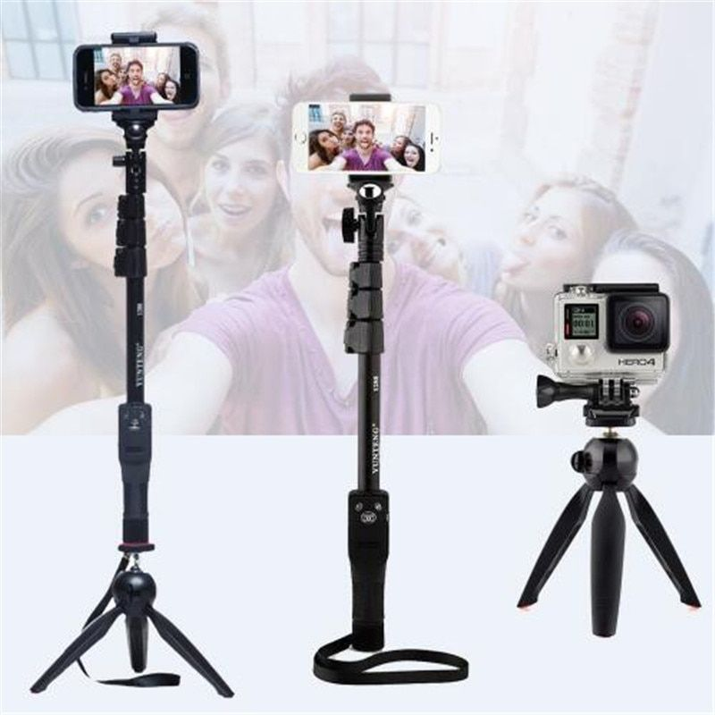 Yunteng 1288 Selfie Bâton De Poche Manfrotto + Support de Téléphone + Bluetooth Obturateur pour Appareil Photo iPhone 4/4S/6/6 s/7 GoPro hero 5/4/3 +