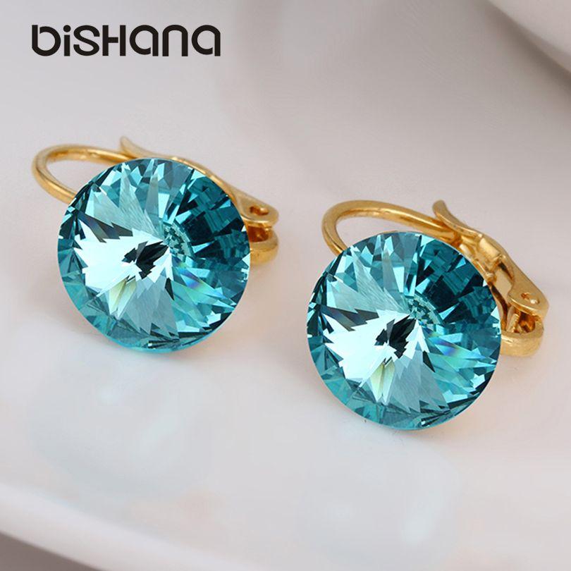 Vaisselle 14 couleurs mode classique élégant boucles d'oreilles en or goutte 1.0 CM bijoux en cristal autrichien boucles d'oreilles avec pierre (AE0421)