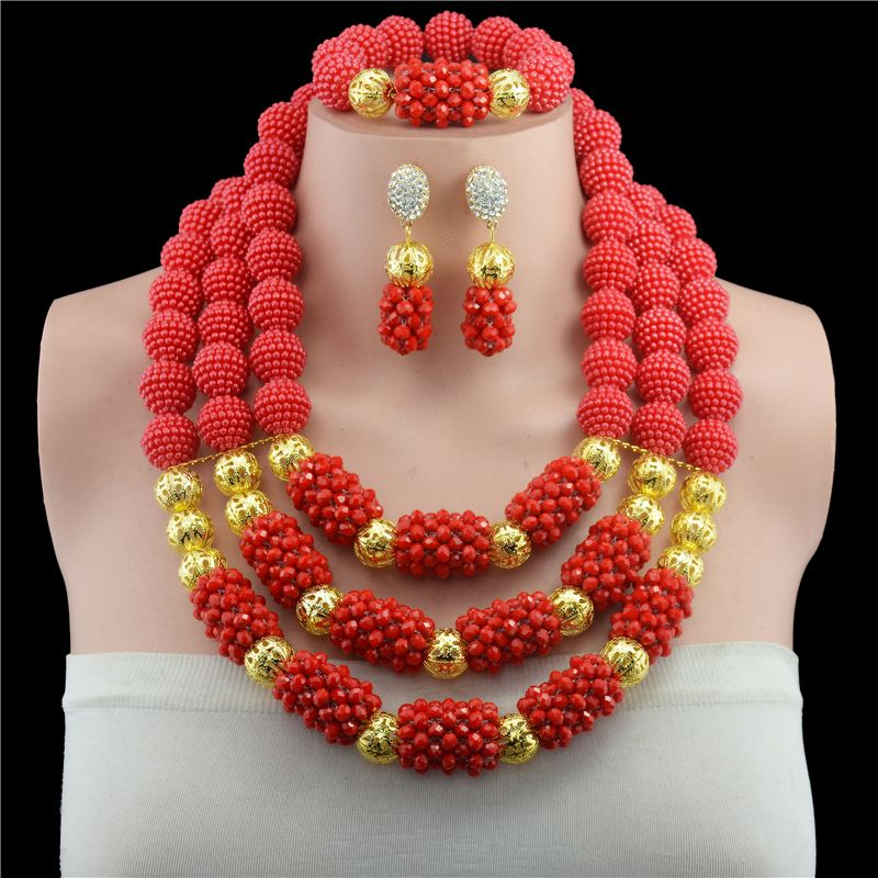 Fashionable Real Red Crystal African Beads Jewelry Sets Brides Red Costume Jewellery Set For Women Hot Sale