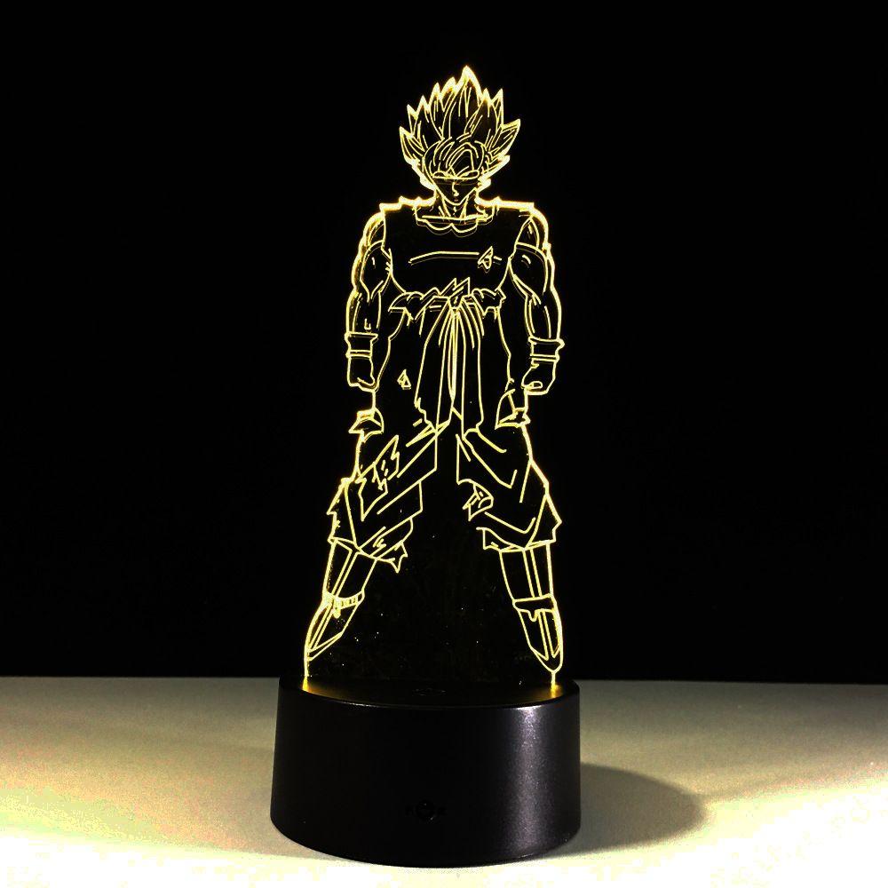 Dragon ball Z Son Goku 3D lumière LED veilleuses visuelles acrylique USB LED lampe d'éclairage 3D créative