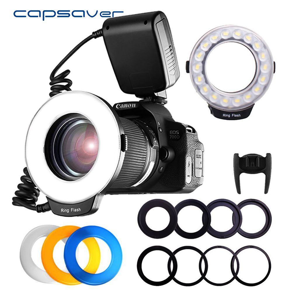Capsaver 18 pcs SMD LED Macro Ring Flash Light pour Pentax Canon Nikon Sony Olympus Panasonic Speedlite LCD Affichage CRI 90 RF-600D