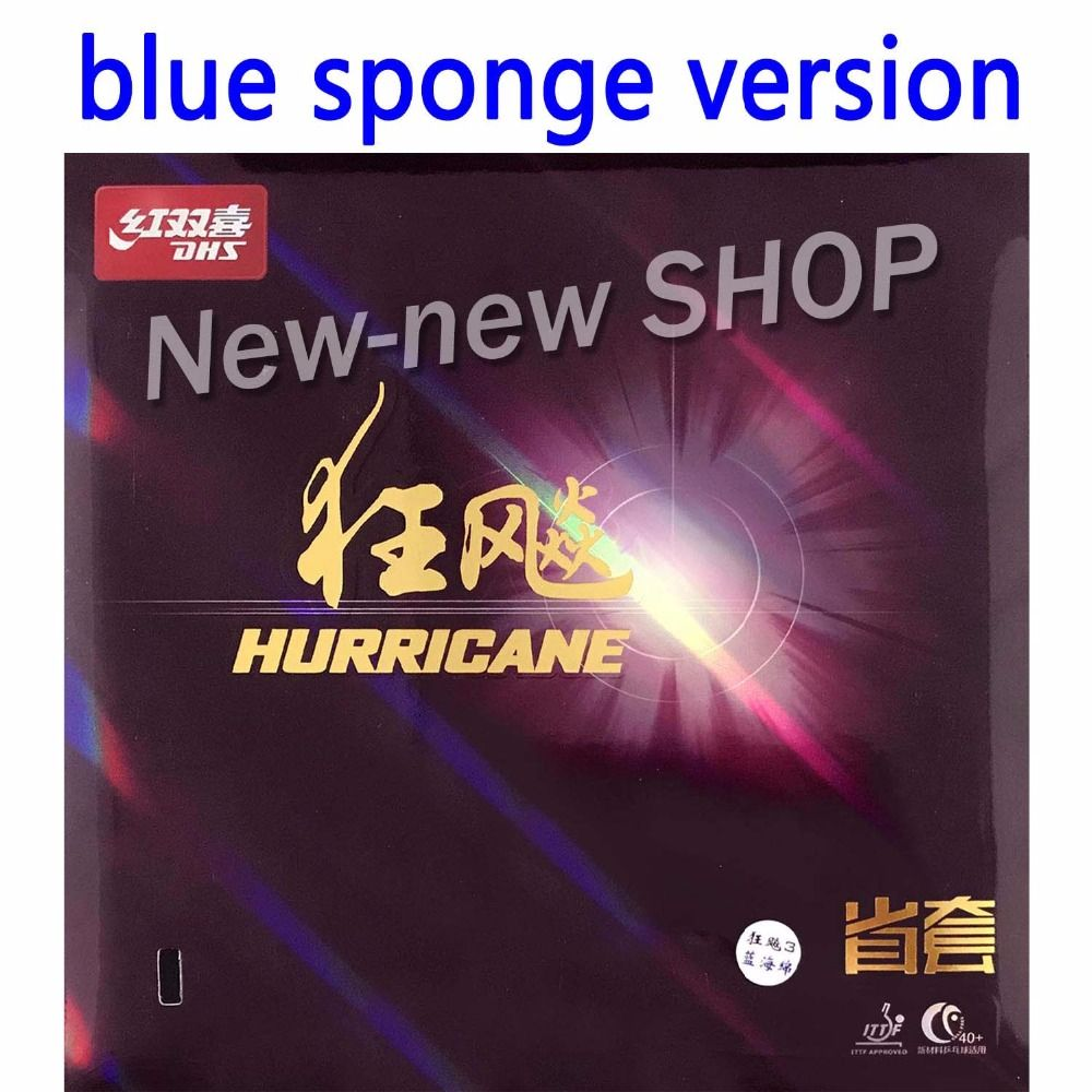 Blue Sponge version DHS Hurricane3 Provincial Professional Black Pips-In Table Tennis Rubber with Blue Sponge 2.15mm-2.2mm