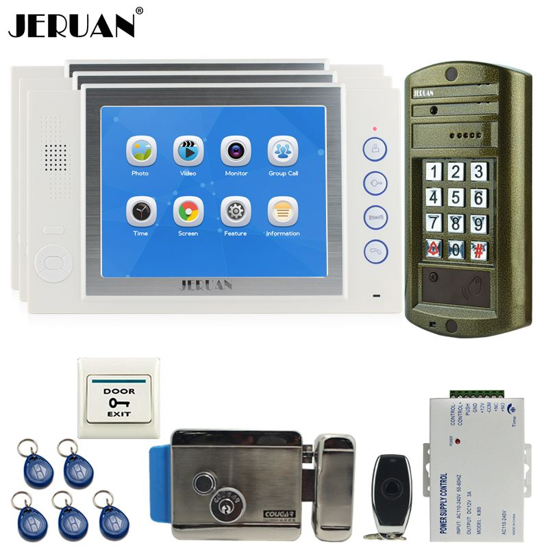 JERUAN Wired 8`` Video Door Phone Record Intercom System kit 3 White Monitor +NEW Metal Waterproof Password HD IR Mini Camera
