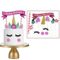 Nueva 1 Unidades hecho a mano Rosa unicornio partido Cupcake decoración Feliz cumpleaños partido bandera bebé niños fiesta decoración de la torta