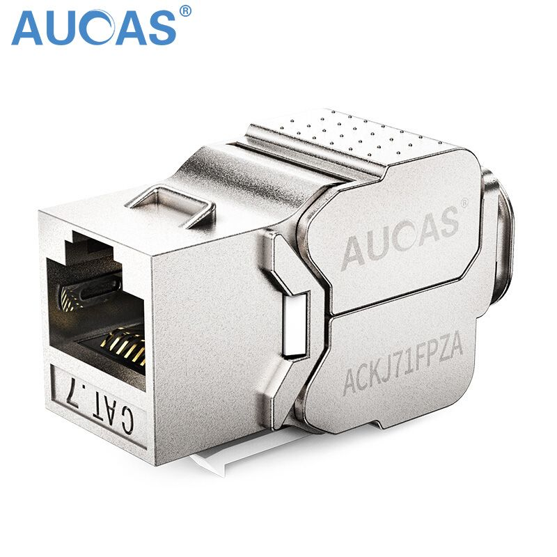 AUCAS 10 pcs/5 pcs Alliage De Zinc Cat7 Keystone blindé FTP Module Panneau de Brassage Modulaire Prises Keystone Connecteur haute Qualité