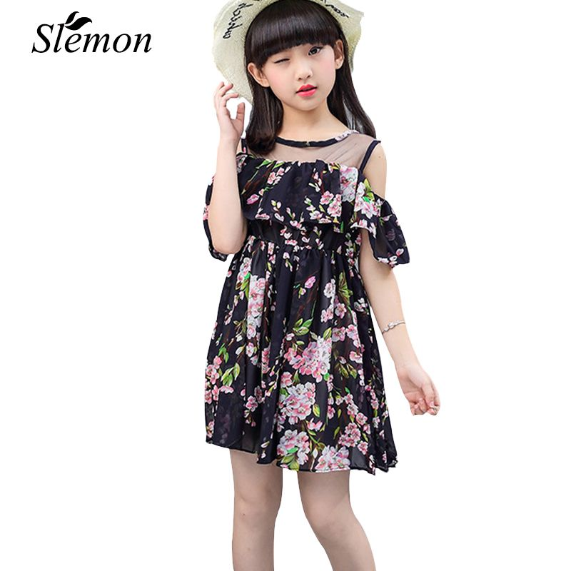 Toddler Teen Strapless Girls Dresses Summer Party 2018 Little Kids Floral Clothes 3 4 5 6 8 9 10 12 13 Years Casual Travel Dress