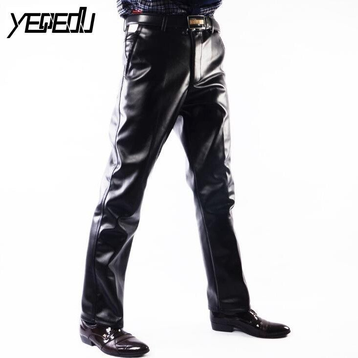 #2202 Faux cuir pantalon hommes décontracté grande taille 29-42 moto pantalon hommes PU cuir pantalon noir droit de haute qualité