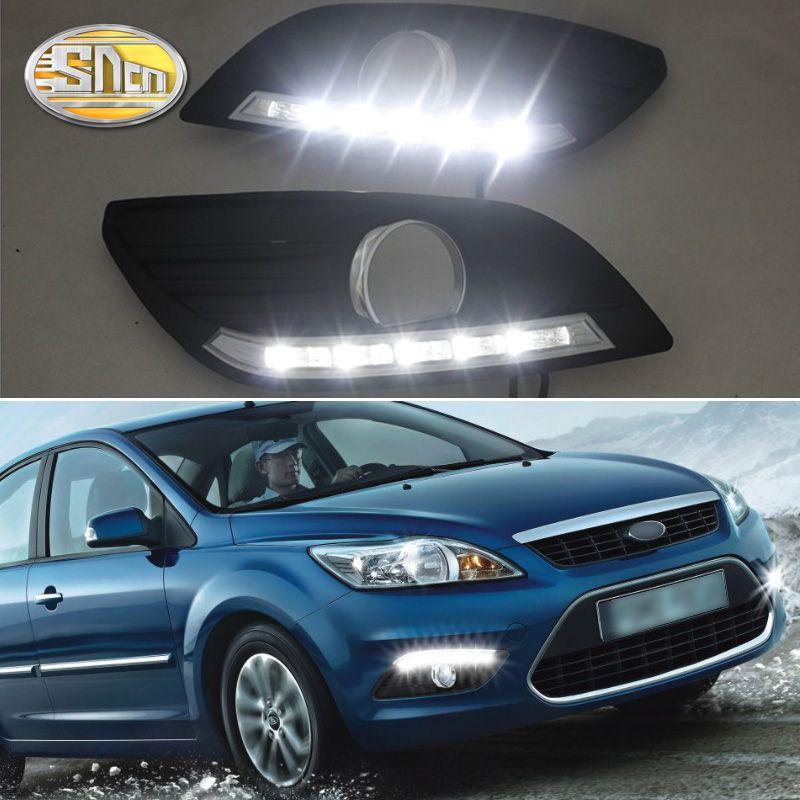 SNCN LED Tagfahrlicht Für Ford Focus 2 MK2 2009 2010 2011 Auto Off Relais Wasserdicht 12 V DRL nebel Lampe Dekoration