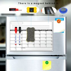 Tablero magnético A3 calendario mensual, de borrado en seco pizarra magnética pizarra dibujo para cocina nevera cepilladora