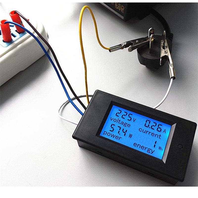 Précis Compteur D'énergie Tension Courant Puissance 80-260 V/20A AC Voltmètre Ampèremètre Bleu Rétro-Éclairage Alarme De Surcharge Fonction pour Intérieur