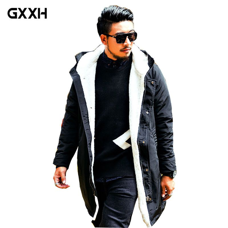 GxxH New Large size Men's jacket Autumn and Winter trend plus velvet Thickening in the long section of the Park Casual Jacket