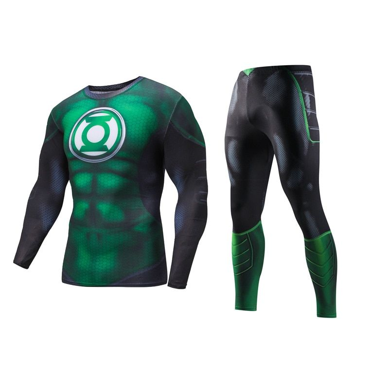 The Avengers Green Lantern Compression Suit Workout Fitness Long Sleeve 3D Print Shirt Sportswear Bodybuilding Leggings