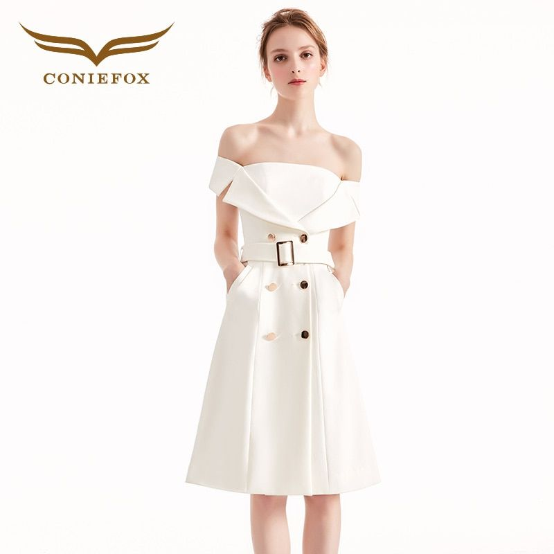 Coniefox 31961 white elegant banquet Birthday dress evening dress Party Prom evening dresses gowns short vestido de noiva festa