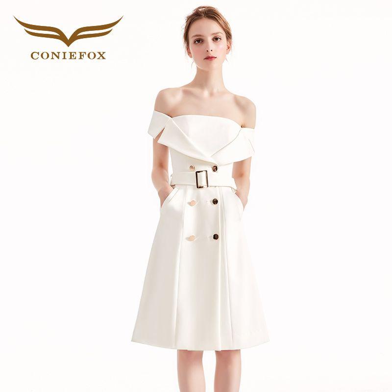 Coniefox 31961 white elegant banquet Birthday dress evening dress Party Prom evening dresses gowns short vestido de noiva festa