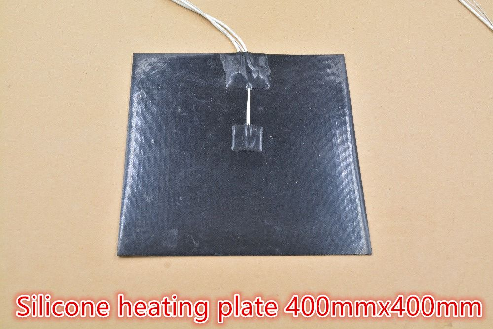 Silicone heating pad heater black silicone plate 400mmx400mm for 3d printer heat bed 1pcs