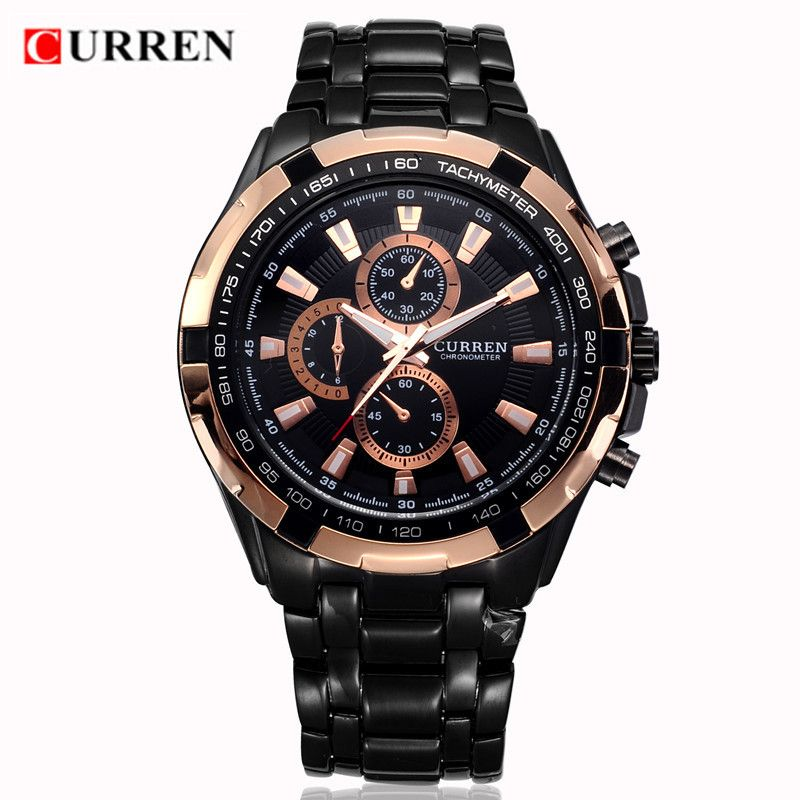 CURREN 8023 Mens Watches Top Brand Luxury Gold Black Quartz Man Watch Men Military Sport Clock Male <font><b>Wristwatch</b></font> Relogio Masculino