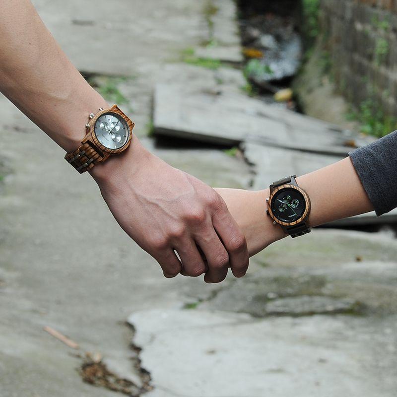 BOBO BIRD Lover Watches Wooden Luxury Clock Business Timepieces With Auto Date Wood Watch Box Relogio Feminino Masculino J-P1819