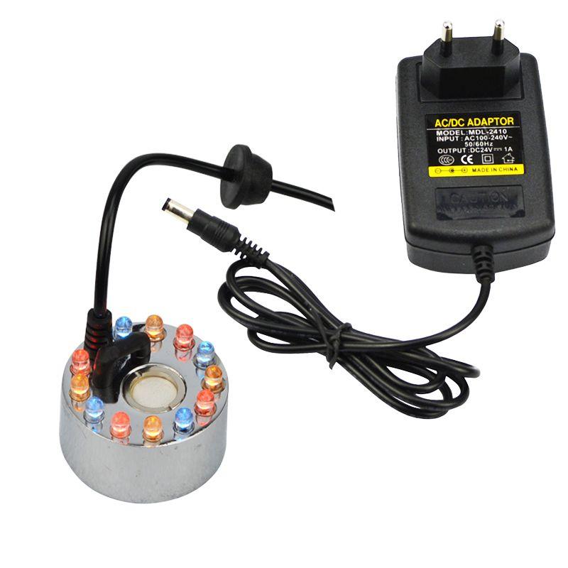 24 v humidificateur à ultrasons 12 LED brumisateur brumisateur nébuliseur brouillard d'eau fontaine vaporisateur à ultrasons générateur de brouillard