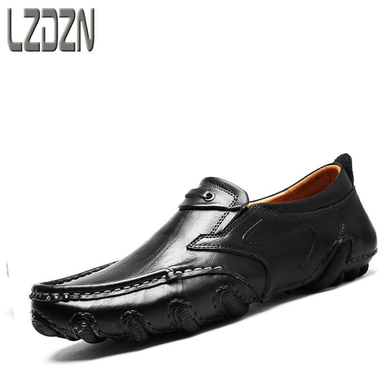 2017 new men's leather shoes leisure middle-aged men driving Doug autumn autumn Octopus brown shoes