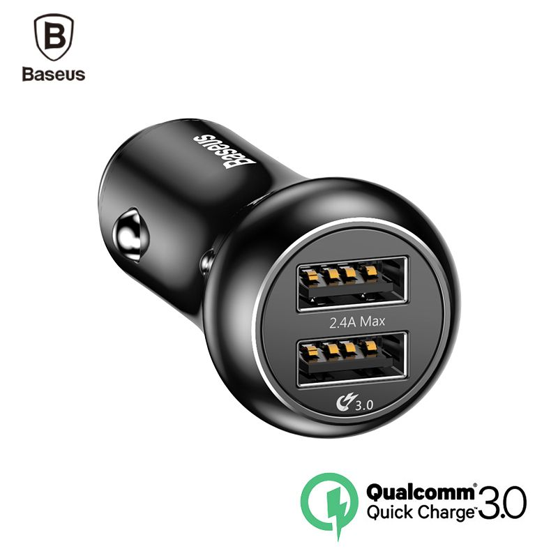 Baseus QC3.0 Turbo USB Car Charger Quick Charge 3.0 Car-charger Dual USB Metal Car Mobile Phone Charger For iPhone X 8 Samsung
