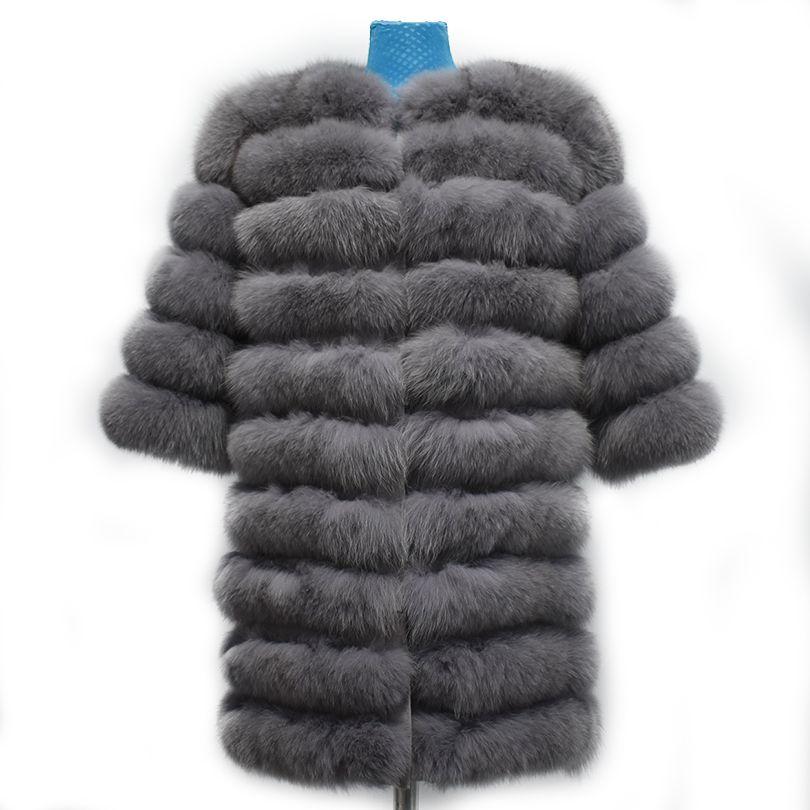2018 echte fuchspelzmantel frauen grau kurzarm Weste abnehmbare Verwandeln Weste Mode Luxus Dicken Warmen Mantel Jacke Feste pelz