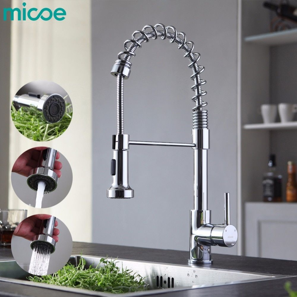 micoe pull-style hot and cold water kitchen faucet mixer single handle single hole modern style chrome tap 360 swivel M-HC103