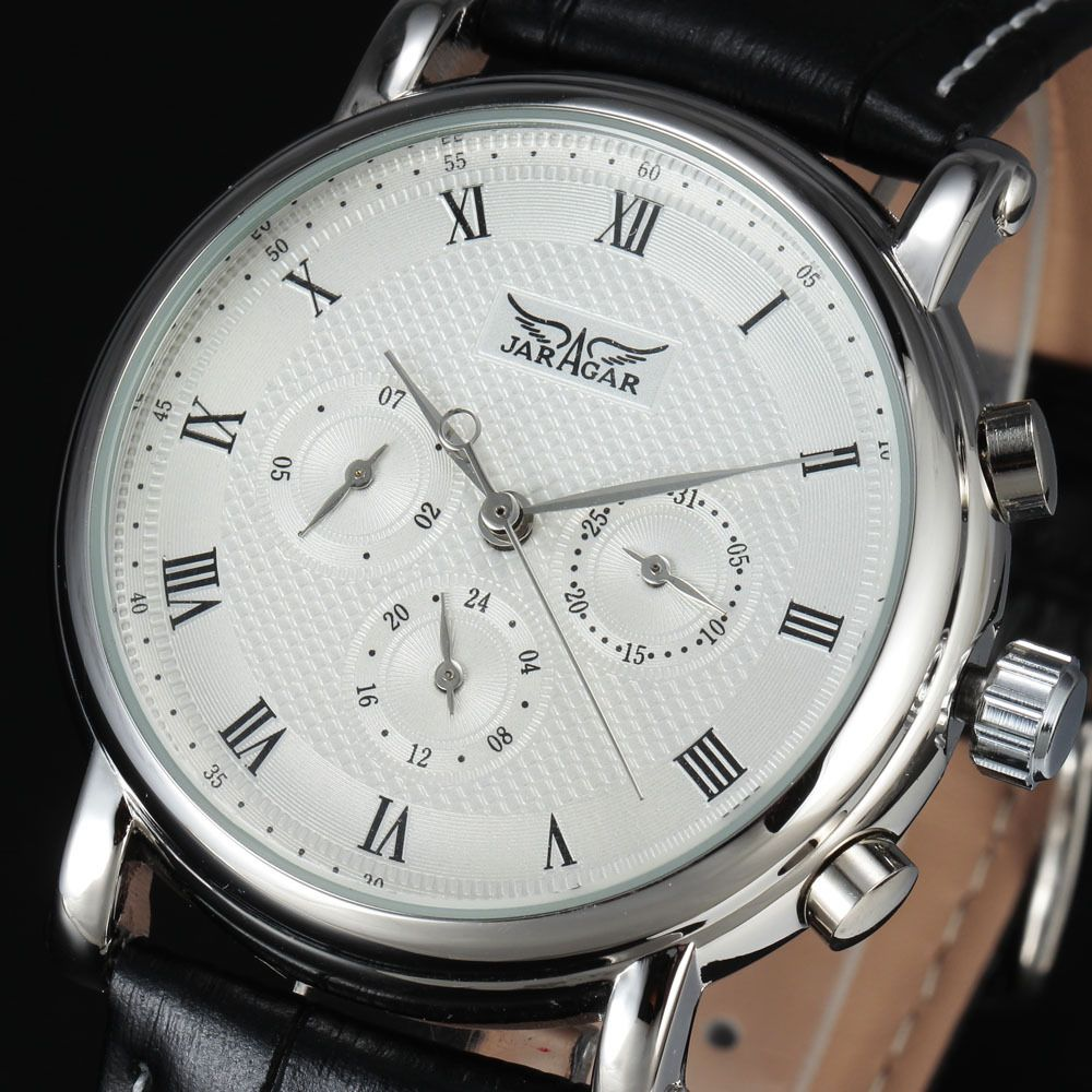New Luxury Brand JARAGAR Automatic Mechanical Self-Wind 24 Hour Week Date Solid Roman Index Dial Leather Men Watches Gift