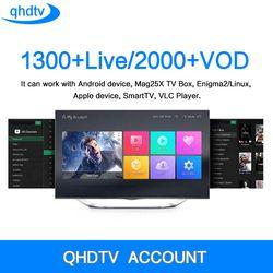 QHDTV CODE IPTV Boîte 1 Année Abonnement Europe Français Italia 1300 Canaux et Dalletektv Android TV Box Arabe IPTV Top boîte