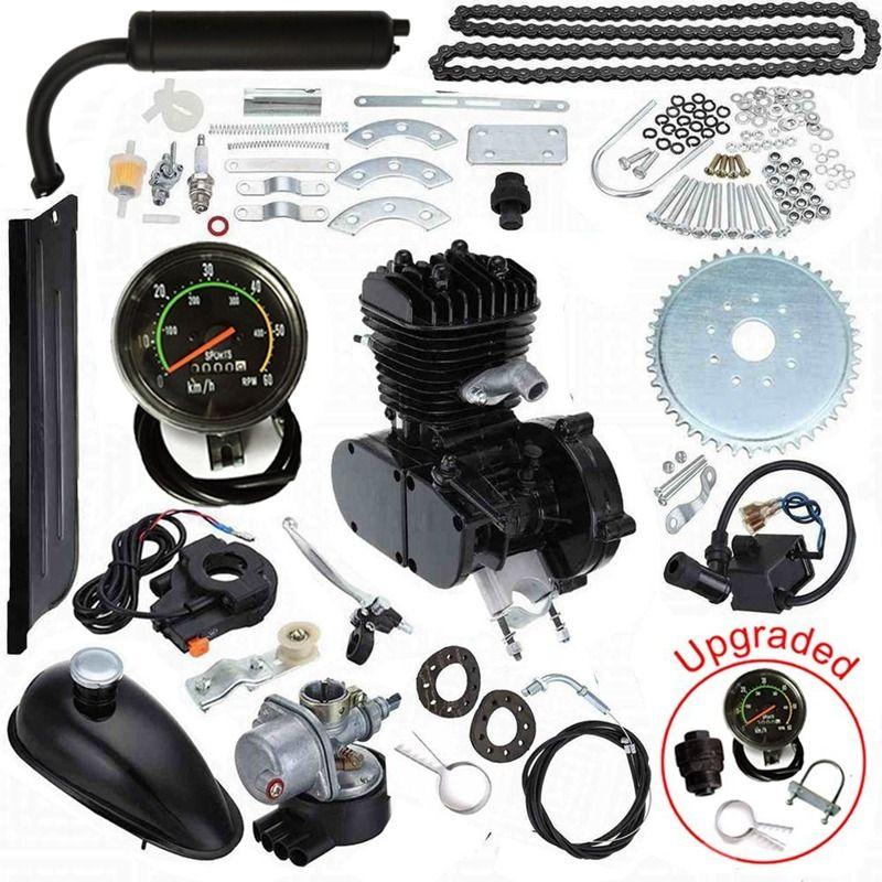 Verbesserte 80cc 2 Hub Motorisierte Fahrrad Gas Motor Kit mit Tachometer Schwarz Geräuscharm Vibrationsarm Schwere Metall