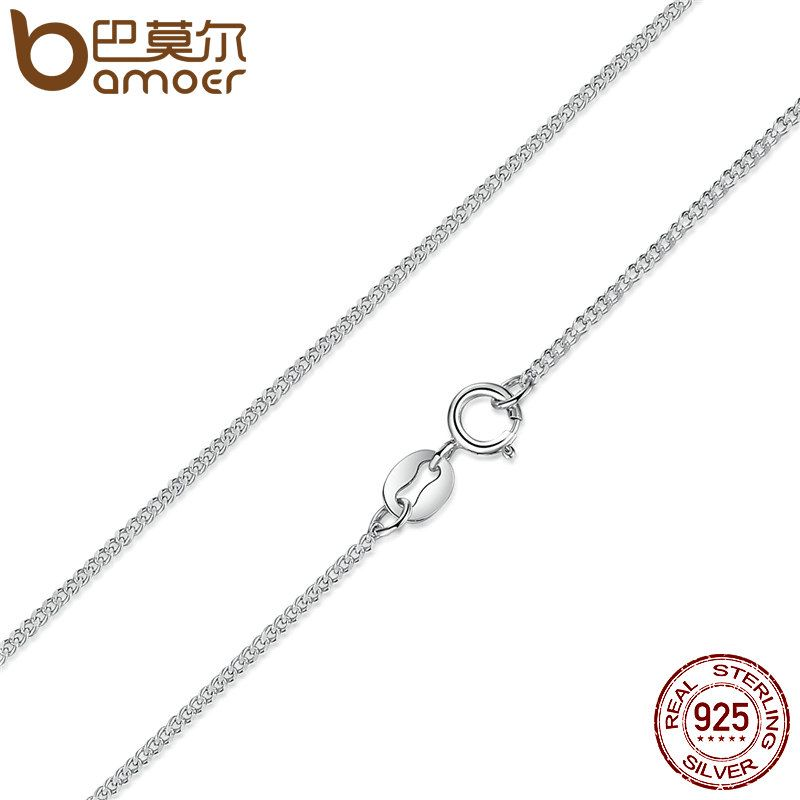 BAMOER Real 925 Sterling Silver Necklace Adjustable Chain Lobster Clasp Simple Chain Fashion Necklace Jewelry 2 Style SCA006-45