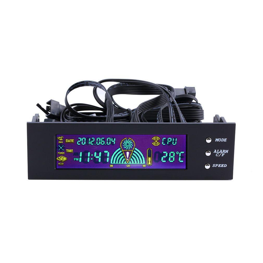 Panel LCD CPU fan speed Controller temperatura display 5.25 pulgadas PC controlador de velocidad del ventilador