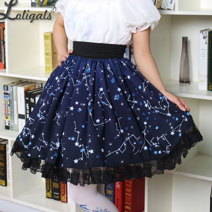 Kawaii Mori Girl Short Skirt Sweet Navy Blue Starry Night Printed Skater Skirt for Women