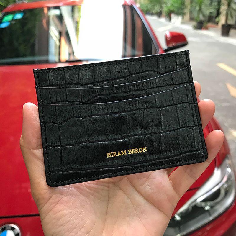 Hiram Beron véritable porte-cartes en cuir hommes en cuir de vache avec motif Crocodile portefeuille gratuit nom personnalisé ID carte de crédit portefeuille