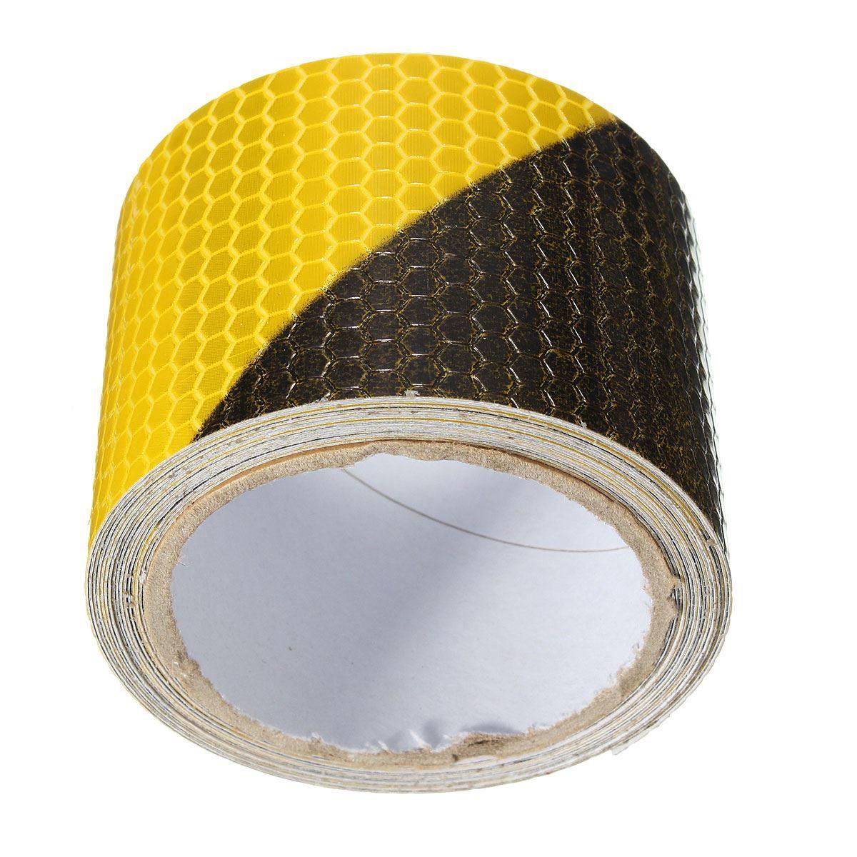 Neue Ankunft Schwarz Gelb Reflektierende Sicherheit Warnung Auffälligkeit Band Film Aufkleber 300 cm x 5 cm Warnung Bänder Sicherheit Schutz